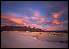 White sand dunes, Guadalupe range, and clouds at sunset. Guadalupe Mountains National Park, Texas, USA. (color)