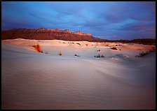Gypsum dune field and last light on Guadalupe range. Guadalupe Mountains National Park, Texas, USA. (color)