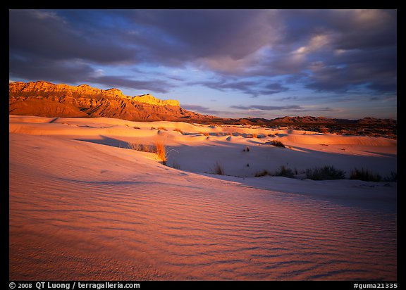 Red light of sunset on white sand dunes and Guadalupe range. Guadalupe Mountains National Park (color)