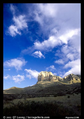 El Capitan and clouds. Guadalupe Mountains National Park (color)