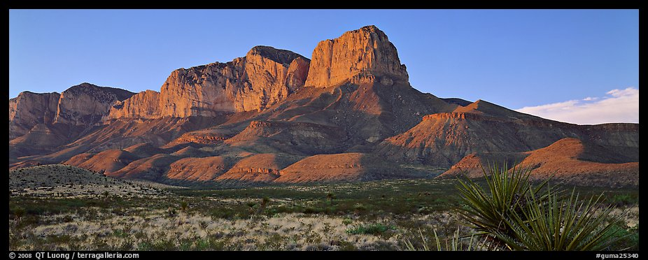 El Capitan cliffs at sunset. Guadalupe Mountains National Park (color)
