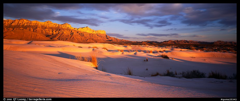 Desert and mountain landscape with white sand dunes. Guadalupe Mountains National Park (color)