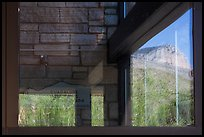 Mountain, visitor center window reflexion. Guadalupe Mountains National Park, Texas, USA. (color)