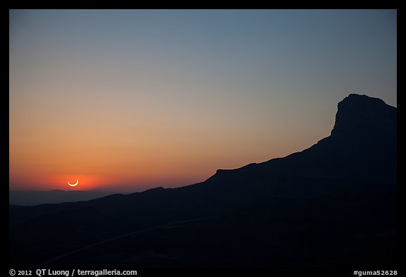 El Capitan, May 20 2012 solar eclipse. Guadalupe Mountains National Park (color)