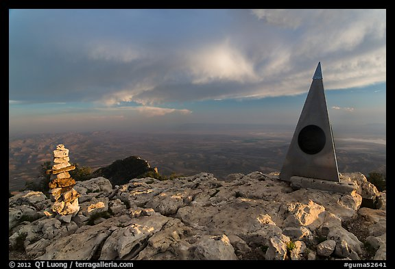 Cairn and monument on summit of Guadalupe Peak. Guadalupe Mountains National Park (color)