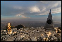 Cairn and monument on summit of Guadalupe Peak. Guadalupe Mountains National Park, Texas, USA. (color)