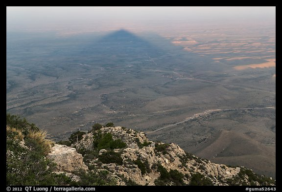 Shadow of Guadalupe Peak at sunset. Guadalupe Mountains National Park (color)