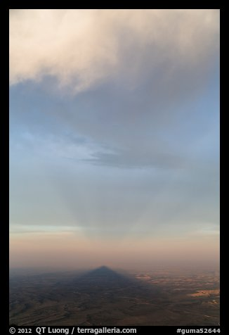 Triangular shadow of Guadalupe Peak and cloud. Guadalupe Mountains National Park (color)