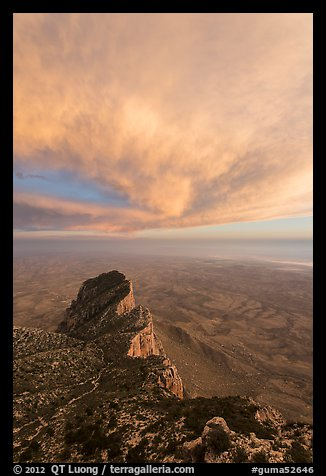 El Capitan backside and sunset clouds. Guadalupe Mountains National Park (color)