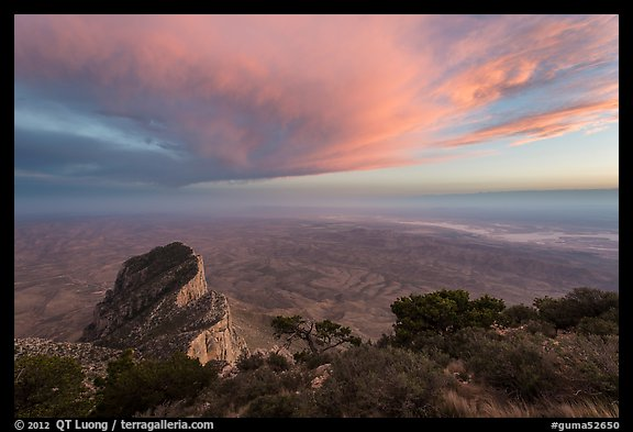 Guadalupe Peak summit and El Capitan backside with sunset cloud. Guadalupe Mountains National Park (color)