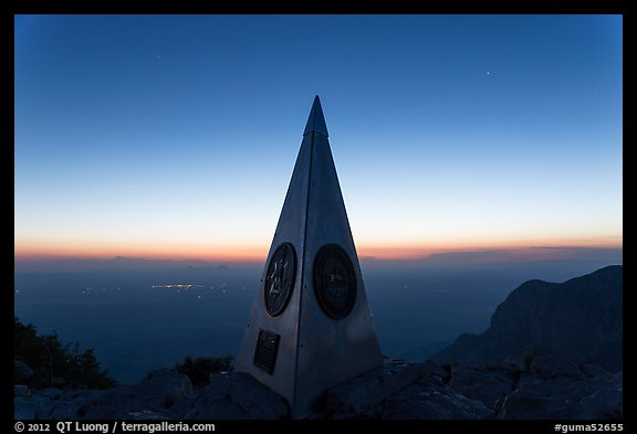 Summit monument at dusk. Guadalupe Mountains National Park (color)