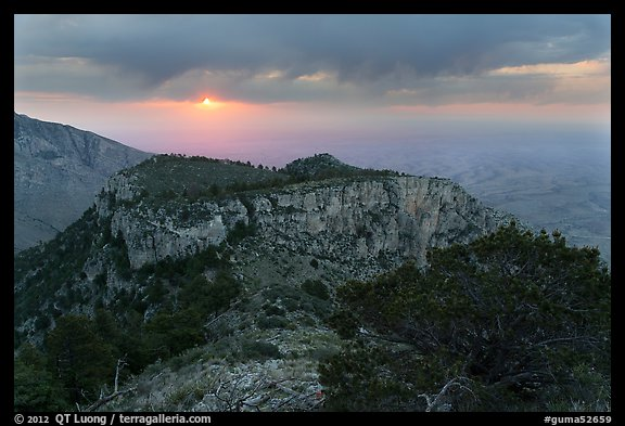 Cloudy sunrise from flanks of Guadalupe Peak. Guadalupe Mountains National Park (color)