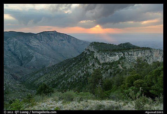 Hunter Peak and Guadalupe Peak shoulder, stormy sunrise. Guadalupe Mountains National Park (color)