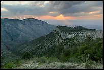 Hunter Peak and Guadalupe Peak shoulder, stormy sunrise. Guadalupe Mountains National Park ( color)