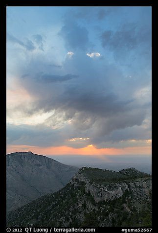Dark clouds at sunrise over mountains. Guadalupe Mountains National Park (color)