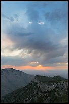 Dark clouds at sunrise over mountains. Guadalupe Mountains National Park ( color)