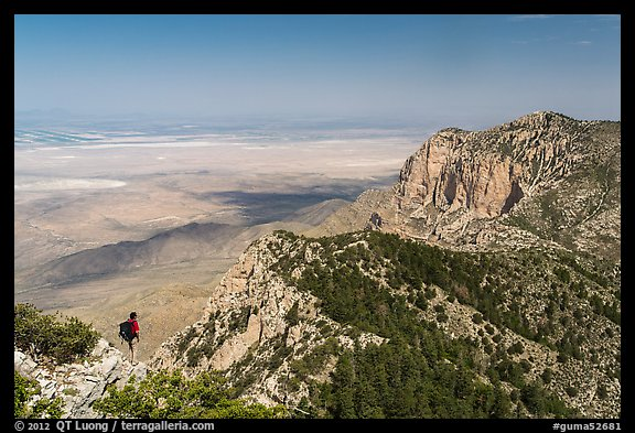 Park visitor looking, Guadalupe Peak. Guadalupe Mountains National Park (color)