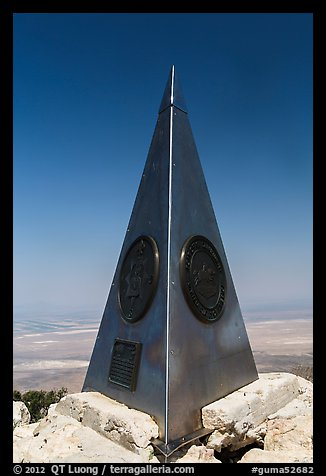 Stainless steel monument placed by American Airlines in the 1950s on top of Guadalupe Peak. Guadalupe Mountains National Park (color)