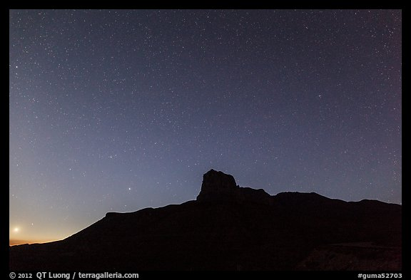 Stars above El Capitan at night. Guadalupe Mountains National Park (color)