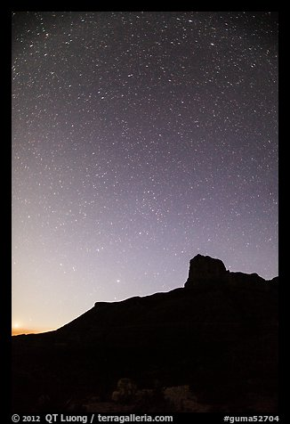 Starry sky and El Capitan. Guadalupe Mountains National Park (color)