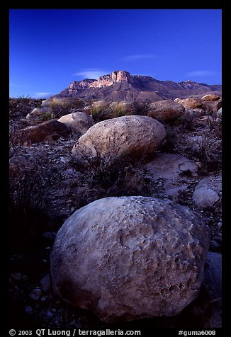 Limestone boulders and El Capitan from the South, dusk. Guadalupe Mountains National Park (color)