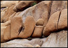 Stacked boulders in Hidden Valley. Joshua Tree National Park ( color)