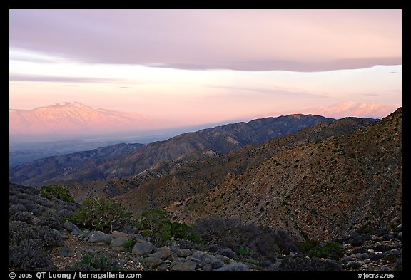 Mt San Jacinto and Signal Mountain from Keys View, sunrise. Joshua Tree National Park (color)