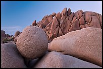Round granite boulder and triangular rocks, dusk. Joshua Tree National Park ( color)
