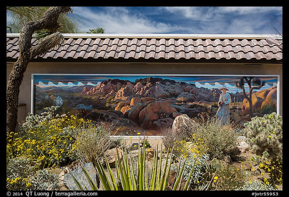 Desert plants and mural, Oasis Visitor Center. Joshua Tree National Park (color)