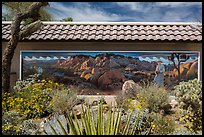 Desert plants and mural, Oasis Visitor Center. Joshua Tree National Park ( color)