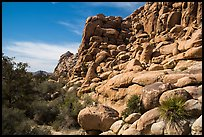 Towering rock formations around Hidden Valley. Joshua Tree National Park ( color)