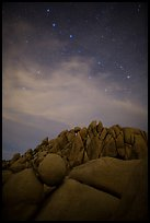 Geometrically shaped rocks and stars at night. Joshua Tree National Park ( color)