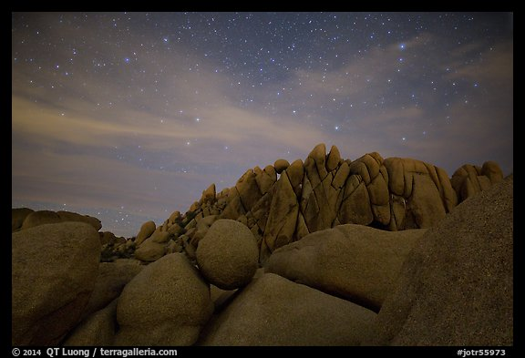 Geometrically shaped rocks and night sky. Joshua Tree National Park (color)