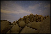 Geometrically shaped rocks and night sky. Joshua Tree National Park ( color)
