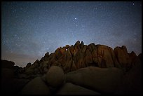 Geometrically shaped rocks and clear starry sky. Joshua Tree National Park ( color)