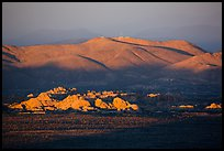 White Tanks rocks and Pinto Mountains at sunset. Joshua Tree National Park ( color)
