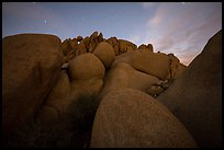 Granite boulders at night. Joshua Tree National Park ( color)