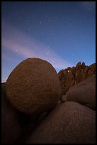 Jumbo Rocks boulders at night. Joshua Tree National Park ( color)