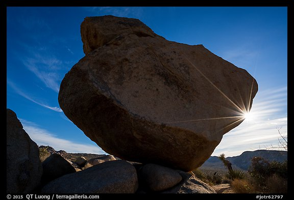 Balanced Rock with sunstar. Joshua Tree National Park (color)