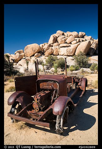Rusting car near Wall Street Mill. Joshua Tree National Park (color)