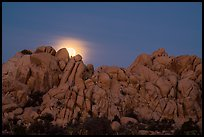 Moonset over rocks delimiting Hidden Valley. Joshua Tree National Park ( color)