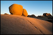 Twin boulders and crack at sunrise. Joshua Tree National Park ( color)