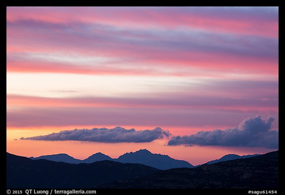 Mountains and clouds past sunset, Rincon Mountain District. Saguaro National Park (color)