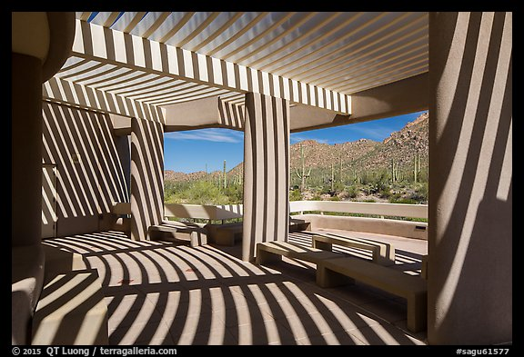 Red Hills Visitor Center patio and shadows. Saguaro National Park (color)