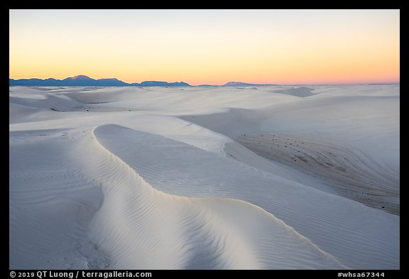 Gypsum sand dunes at sunset. White Sands National Park (color)