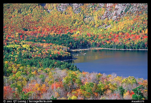 Eagle Lake, surrounded by slopes in fall foliage. Acadia National Park (color)