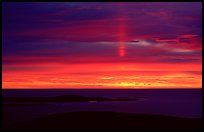 Sun pillar from Cadillac mountain. Acadia National Park, Maine, USA.