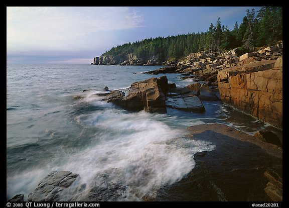 Surf and granite  coast near Otter Cliffs, morning. Acadia National Park (color)