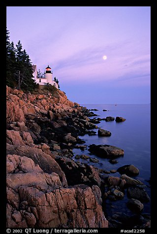 Bass Harbor lighthouse, sunset. Acadia National Park (color)