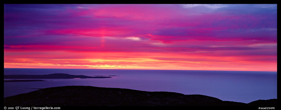 Red clouds over ocean at sunrise. Acadia National Park (color)